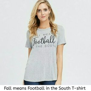 """Fall means Football in the South"" Gray T-shirt"